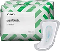 Amazon Brand - Solimo Incontinence Guards for Men, Maximum Absorbency, 104 Count (2 packs of 52)