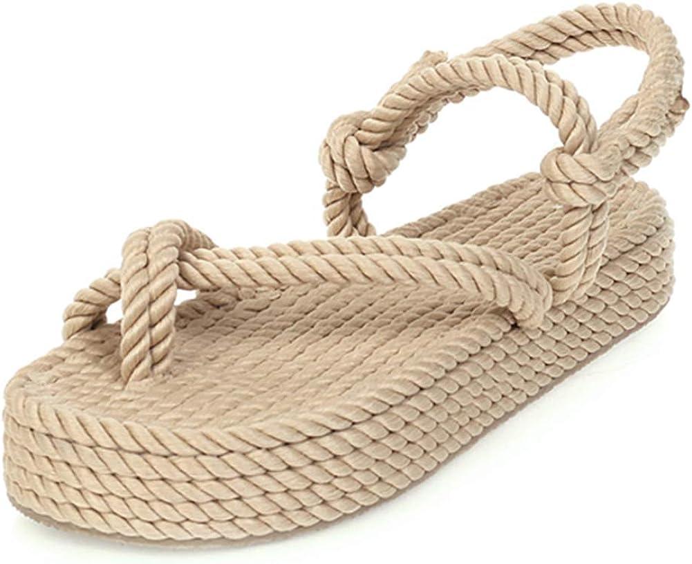 SO SIMPOK Women's Open Toe Ankle Strap Platform Espadrilles Summer Comfortable Wedge Sandals