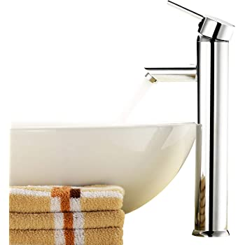 Above Counter Bathroom Sink Faucet Combo Single Handle Solid Brass