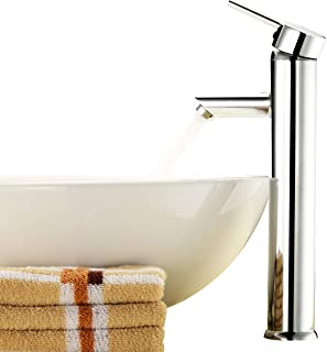 Above Counter Bathroom Sink Faucet Combo Single Handle Solid Brass Basin Mixer Taps,Chrome Finish