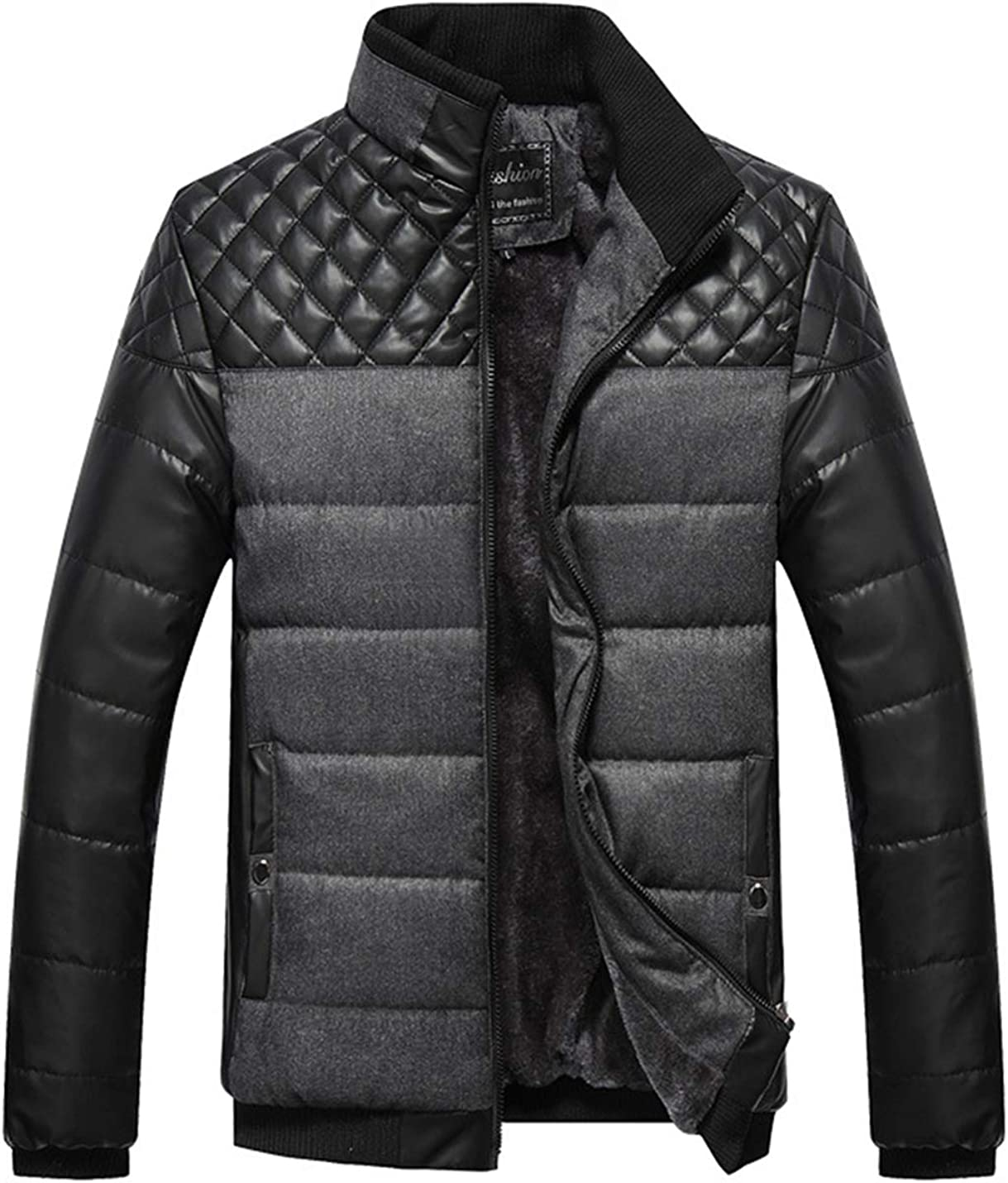 Lentta Men's Winter Warm Fleece Lined Zipper Quilted Stand Collar Jacket Coat