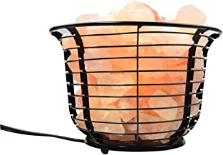 Mineralamp IB-101 Natural Himalayan Round Style Basket Lamp with Carved Salt Chunks, Bulb and Dimmer Control, Peach/Pink