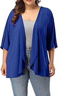 TOPUNDER Plus Size Cardigan for Women Summer Casual Open Front Half Sleeve