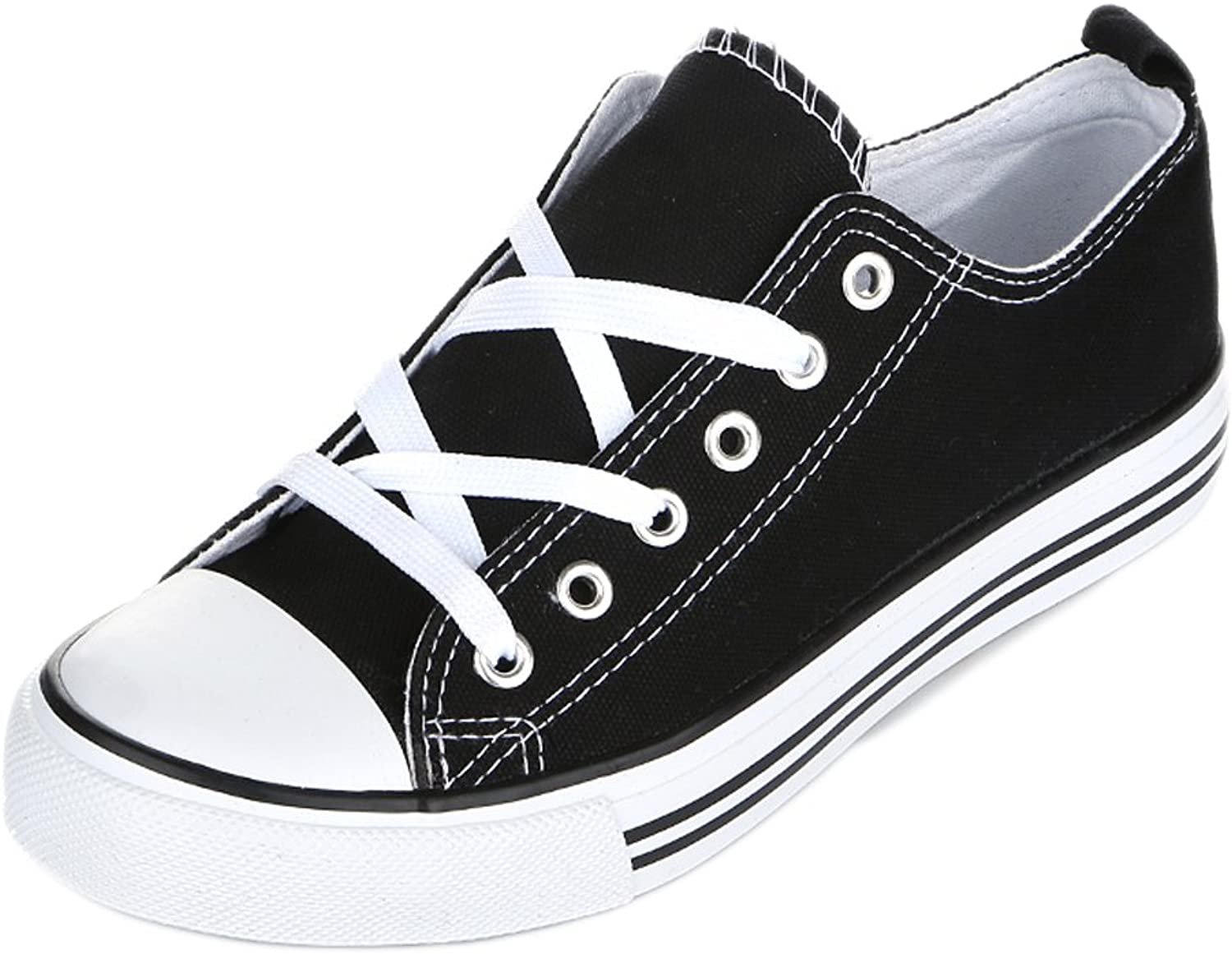 Shop Pretty Girl Women's Casual Canvas shoes Solid colors Low Top Lace Up Flat Fashion Sneakers