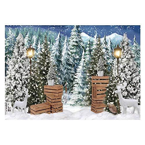 Allenjoy Weihnachten Winter Hintergrund für Fotografie Kiefer Schnee Dekoration Banner für Baby-Dusche Geburtstag Photo Booth Studio Requisiten 210x150cm