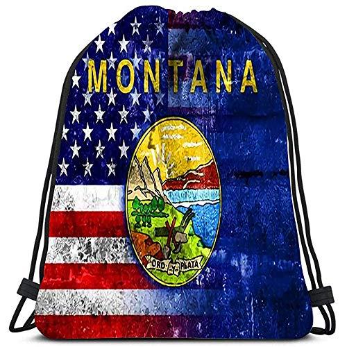 Sacs À Cordon,USA Et Montana State Flag Peint sur Mur Grunge Sacs À Dos D'Étudiant Impressionnants pour Adultes Garçons Filles