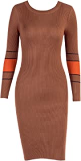 Women's Mock Neck Long Sleeve Striped Knit Sweater Midi Bodycon Dress