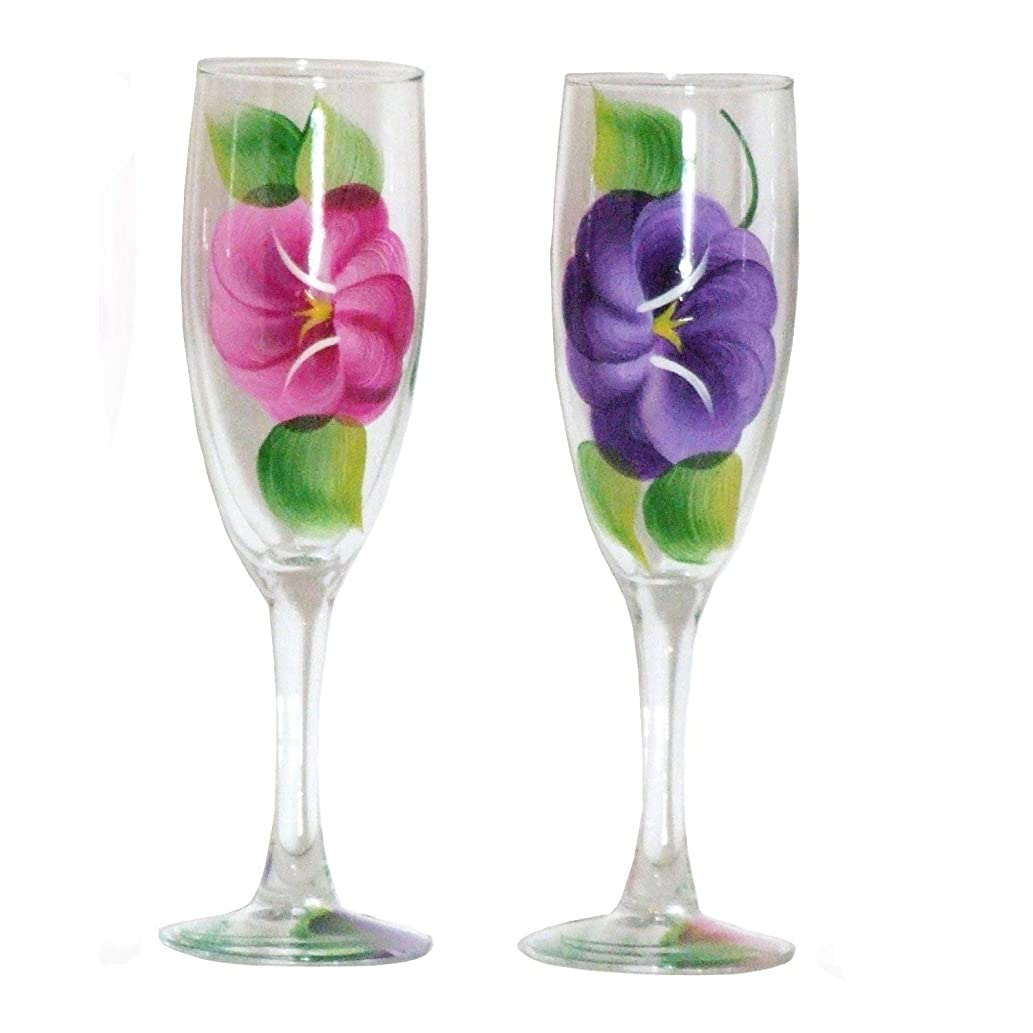 Set of 2 Hand Painted Purple & Red Pansies Champagne Glasses. Made to Order.