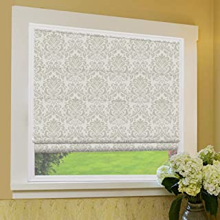 Roman Shades Window Blinds, Grey Paisley Premium Blackout Window Roman Shades, Custom Washable Fabric Roman Shades for Windows, Doors, French Doors, Kitchen Windows