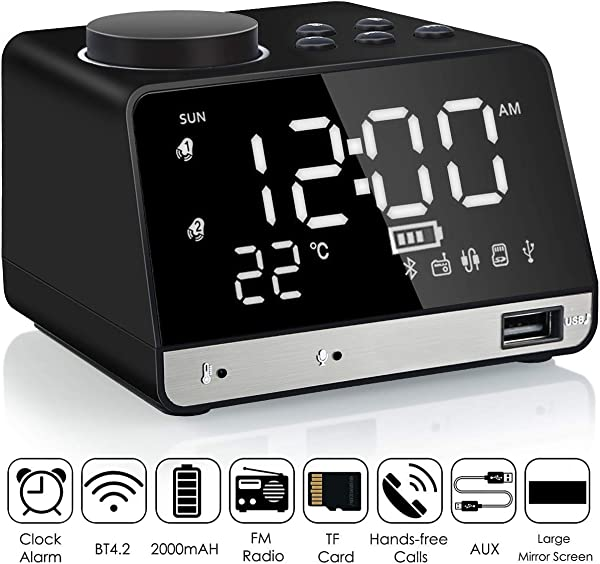 Alarm Clock Radio Leyeet Wireless Bluetooth Speaker USB Charger TF Card Play Thermometer Large Mirror LED Dimmable Display AUX In Function Hotel Home Office Bedroom Travel Black