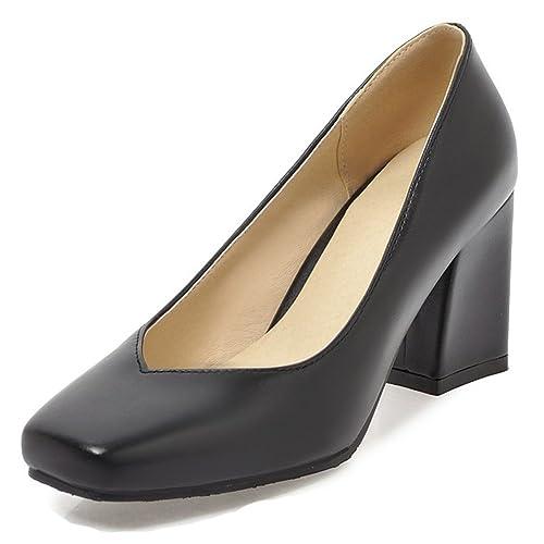 795eeef244c Black Square Toe Block Heel Pumps: Amazon.com