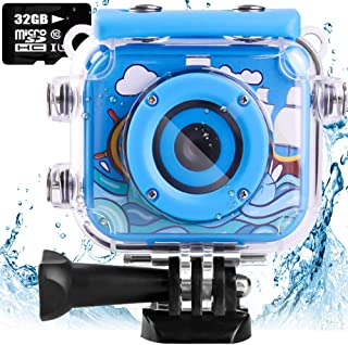 denicer Waterproof Kids Camera with 2.0 Inch LCD Display 12MP Photo Resolution & 1080P Video Resolution with 32G SD Card Underwater Children's Camera for 4-12 Boy Birthday Blue