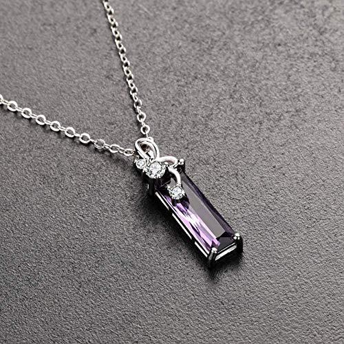 Silberkette S925 Sterling Silber Amethyst Anhänger Halskette Rechteckiges Schlüsselbein Kettenanhänger Saphir Bulgari Damenanhänger