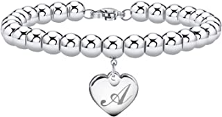 Initial Bracelet for Girl Stainless Steel 26 Letters A to Z Heart Tag Bead Bracelet Alphabet Bracelet Mother's Day Gifts f...
