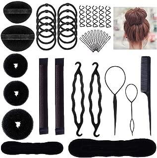 Aisonbo Hair Styling Accessories Bun Maker Set, Fashion Hair Design Styling Tools DIY Hair Accessories Hair Modelling Tool Kit Set Magic Simple Fast Spiral Hair for Girls Women (bunset-26p)