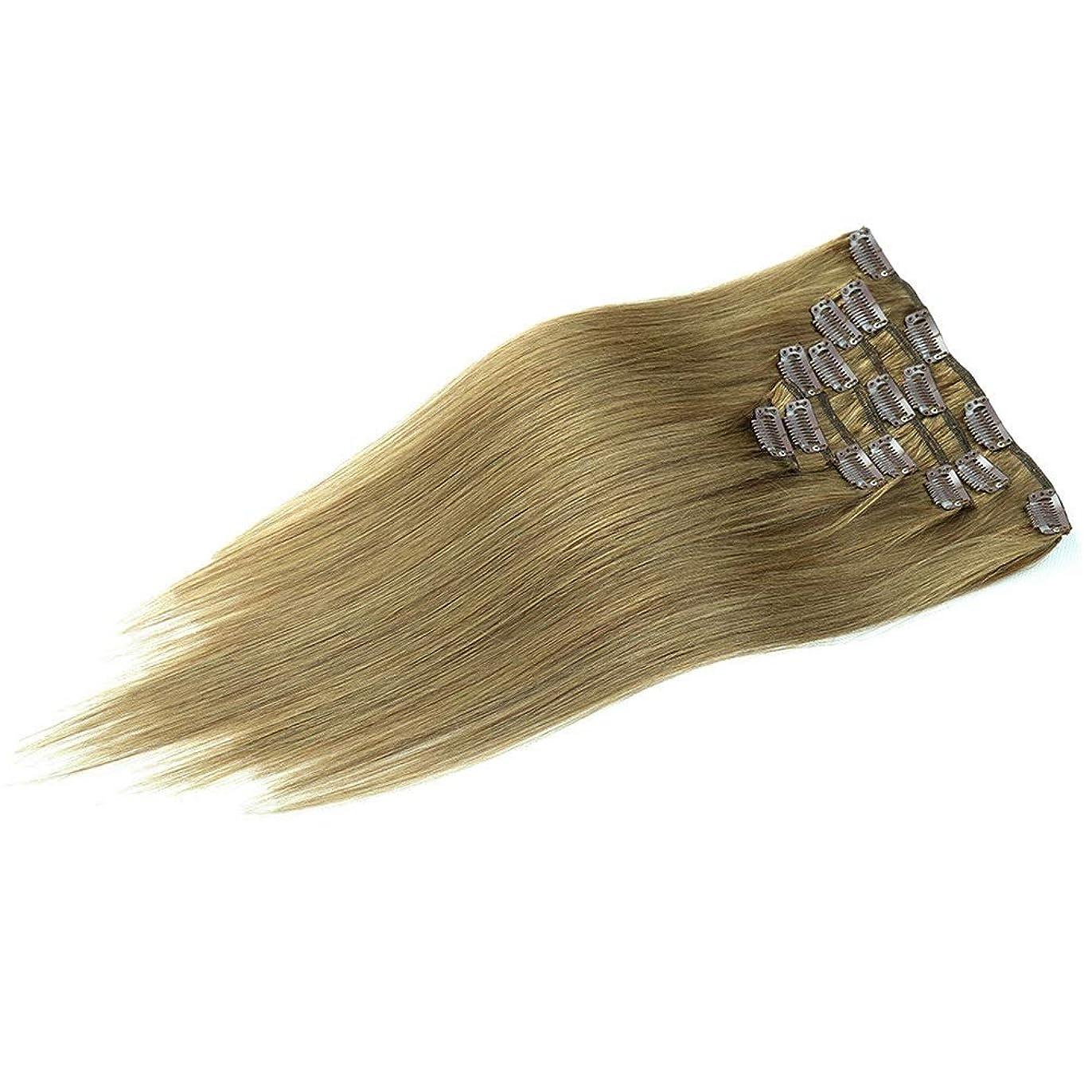 ニンニク財産統計HOHYLLYA ヘアエクステンション22インチクリップin人間の髪の毛#8茶色がかった緑色のフルヘッドダブル横糸ストレートヘアピースロールプレイングかつら女性の自然なかつら (色 : #8 Brownish green)