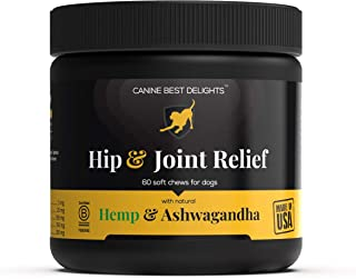 Hip & Joint Relief - All Natural Dog Treats with 300mg Organic Hemp Oil - Ashwagandha, Glucosamine, Chondroitin, MSM