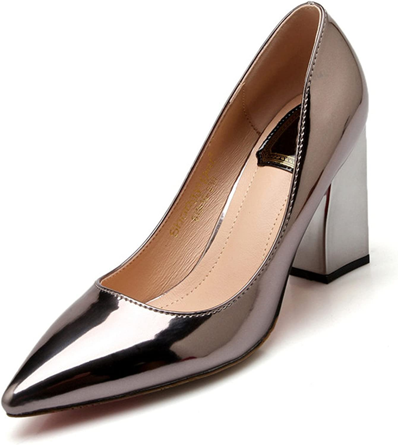 Mofgr Women Pumps Sexy Patent Leather High shoes golden Silver Brown Plus Size 33-43