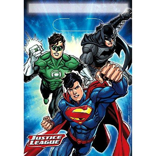 Amscan 371585 DC Comics Lot de 8 Sacs à Butin pliés Bleu Taille Unique