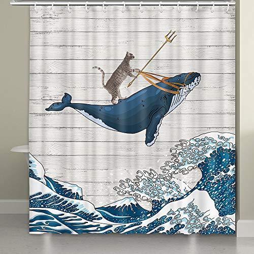 Lustige Katze reitender Wal Duschvorhang, niedlicher Katzen-Wal auf rustikaler Vintage Bauernhaus-Holz-Duschvorhang, Kanagawa japanischer Duschvorhang für Kinder, Strand, lustiger 175 x 178 cm