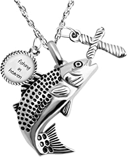 Dletay Fish Cremation Jewelry for Ashes Memorial Ashes Keepsake Necklace Urn Necklace Pendant