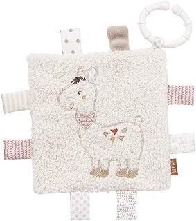 Fehn 058178 Knistertuch Lama mit Ring – Activity-Rascheltuch zum Aufhängen – Für Babys und Kleinkinder ab 0 Monaten – Maße: 16 x 16 cm