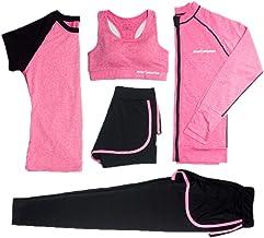Conjunto de ropa deportiva para mujer, Abrigo deportivo, Leggings/Sujetador Medias elásticas correr Pantalones cortos, traje yoga Adecuado para: fitness, baile(conjunto de 5 piezas),Pink,XXL