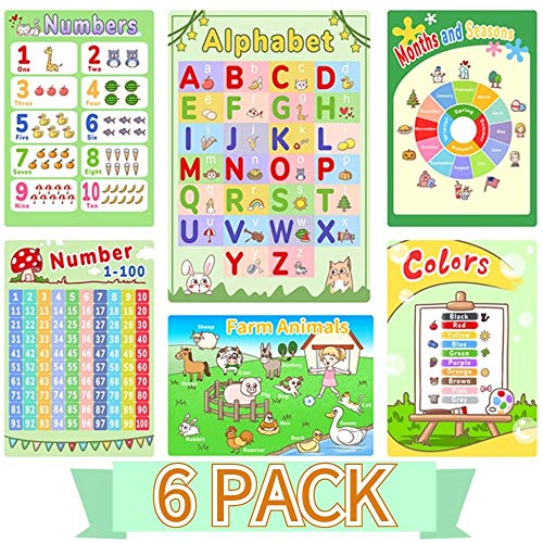 Alphabet Chart Posters for Preschoolers, Number Chart 1-100 for Kids, 6 Pack Educational Posters for Toddlers, Preschool Learning Posters for Wall Home Classroom Decor for Pre K – K 16 x 11 Inch