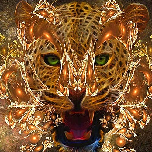 Lazodaer Kit de pintura de diamante 5D por nmero, taladro redondo completo con diamantes de imitacin de cristal, decoracin de artes un tigre hueco con una mscara de llama amarilla, 30 x 30 cm