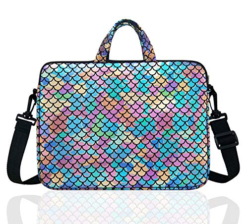 15.6-Inch Laptop Shoulder Carrying Bag Case Sleeve For 14  15  15.6 inch Macbook Notebook Ultrabook Chromebook, Mermaid Scale (Colorful)