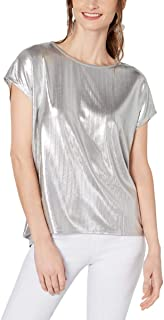 INC Womens Silver Short Sleeve Jewel Neck T-Shirt Top US Size: M