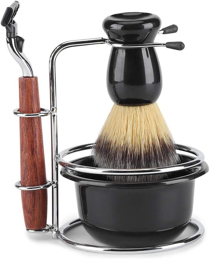 Kit de Afeitado de 4 Piezas, Juego de Afeitado 4 en 1 para Hombres Que Incluye Una Maquinilla de Afeitar Manual Soporte de Acero Inoxidable Brocha de Afeitar de Pelo de Tejón Cuenco de Afeitar