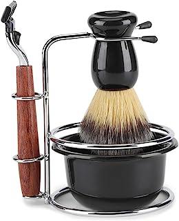 Fdit 4 st rakningssats rakkniv set manuell rakhyvel + stålstativ hållare + borste + skålset
