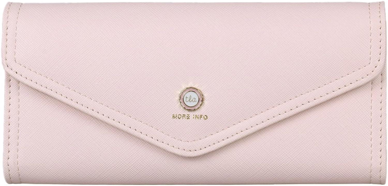 Damara Womens Simple Envelope Purse Trifold Card Case Wallet,Light Pink