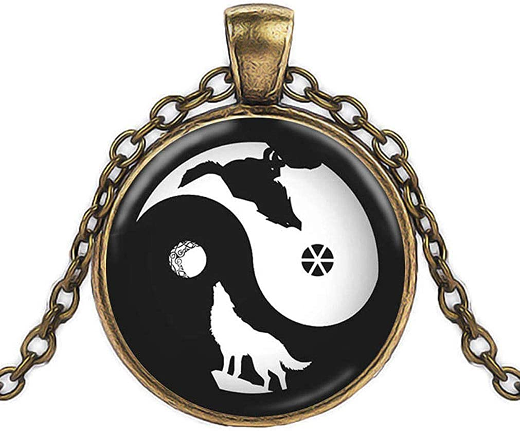 FOY-MALL Metal Glass Yin-yang Wolf Pendant Chain Necklace XL1592N