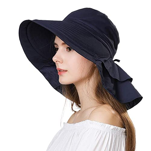 60c2c1e4759 Siggi Summer Bill Flap Cap UPF 50+ Cotton Sun Hat with Neck Cover Cord for