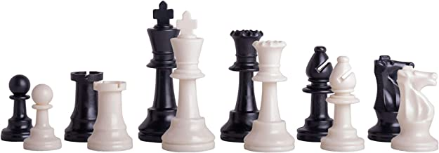 """US Chess Federation`s Triple Weighted Tournament Staunton Plastic Chess Pieces - 3.75"""" King - Black & White"""