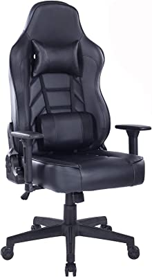 Blue Whale Gaming Chair with Massage Lumbar Pillow, PC Computer Video Game Racing Chair Reclining Executive Ergonomic Office Desk Chair with Headrest