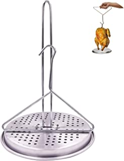 BOHK Perforated Aluminum Turkey Chicken Poultry Deep Frying Rack with Chrome Finish Wire Handle Lifter Hook Vertical Roaster Holder Base for Deep Fry Pot Grill BBQ FDA Approved