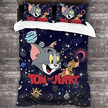 xiaoxiaoshen Tom and Jerry 3 Pieces Bedding Set,Cute Boys Girls Comforter Sets,Luxury Guestroom Decorations.Queen 90x90inch