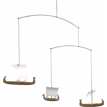 Viking Ships 3 Hanging Mobile - 15 Inches - Teak - Handmade in Denmark by Flensted