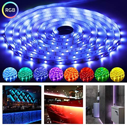 OUSFOT LED Strip 5M LED Streifen RGB SMD 5050 mit Fernbedienung Farbwechsel Selbstklebend