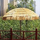YYSD Parasol Hawaïen Extérieur Jardin Pliant Parapluie de Paille Étanche avec Inclinaison et Fonction de Réglage de La Hauteur (Couleur Naturelle)