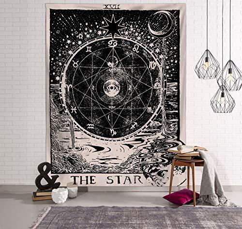 WERT Tarot Sol y Luna Patrón Manta Tarot Indio Mandala Tapiz Colgante de Pared Bohemia Gypsy Home Dormitorio Decoración Tapiz A5 150x200cm