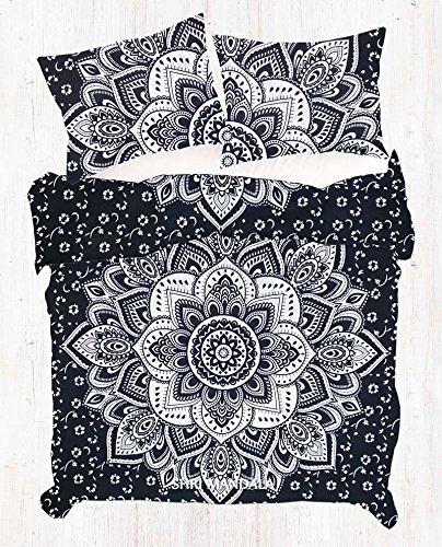 Sophia-Art Housse de couette indienne faite à la main en coton imprimé ethnique, bohème, mandala, ombre avec 2 taies d'oreiller, Coton, Fleur noire et argentée., Twin 52*74 Inches