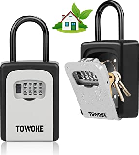Key Lock Box For Outside - TOWOKE Weatherproof and Resettable 4 Digit Combination Lock Box For House Key, 2 IN 1 Wall Mounted Key Storage Lockbox with Removable Shackle for House AirBNB,6 Key Capacity