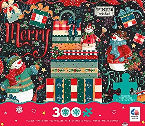 Ceaco Holiday Chalk - Snowman Gifts - OverGrößed Holiday Puzzle (300 Piece) by Ceaco