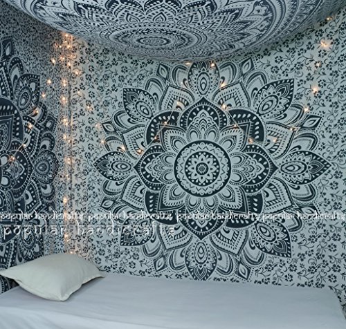 Popular Handicrafts Kp646 Bordüre Ombre grau groß Ombre Tapisserie indisches Mandala Wandkunst Hippie Wandbehang Bohemian Tagesdecke Mehrzweck-Wandteppich 213 x 228 cm