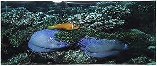 Etiqueta engomada del fondo del acuario, cartel adhesivo del tanque de peces del fondo marino del PVC Fondo del acuario Patrón de peces amarillos Cartel del fondo del acuario Etiqueta(122x50cm)