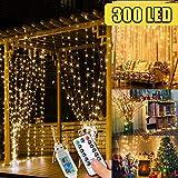 WEARXI Lichtervorhang Deko - 3M 300 LEDs Lichterkette Lichtvorhang, 8 Modi LED Vorhang Lichterketten für Zimmer Deko Schlafzimmer Deko, Weihnachtsdeko, Outdoor Deko Balkon (Warmweiß)